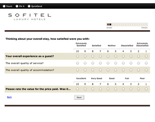 hotel survey questions